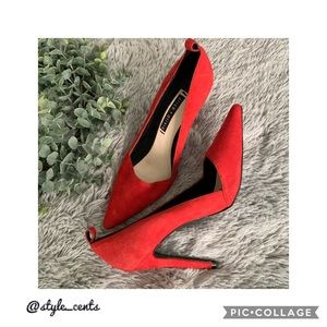 💋Alice + Olivia Red Suede Heels💋